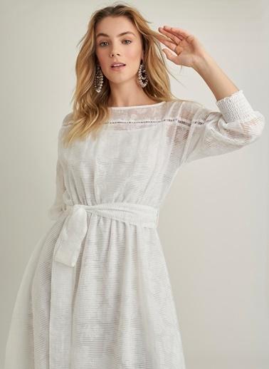 NGSTYLE Midi Boy Elbise Beyaz